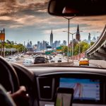 View of Empire State Building and Manhattan skyline from a Uber car.