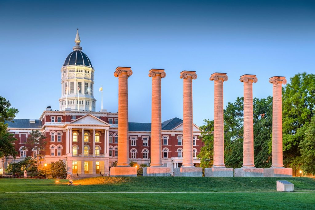 The columns in front of the University of Missouri.